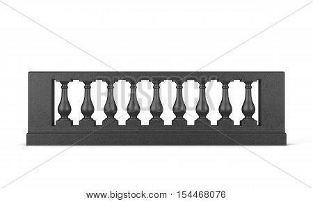 Front View Black Balustrade Isolated. 3D Rendering