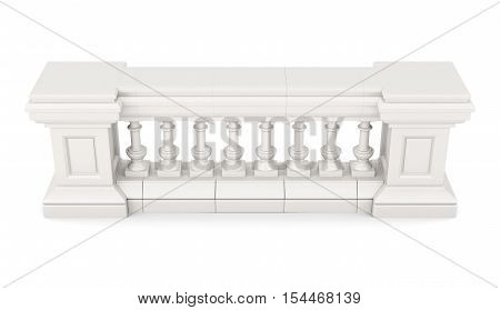 Marble Balustrade Isolated On White Background. 3D Rendering