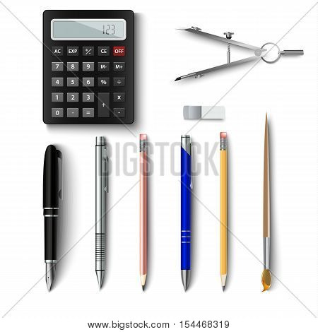 Office writing implements and drawing template vector eps 10