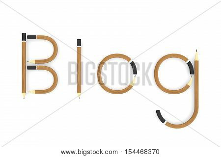 BLOG in the form of pencils on white background 3D illustration