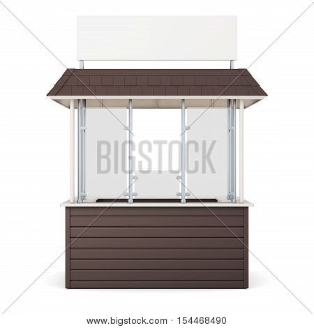 Brown Kiosk Isolated On A White Background. 3D Rendering