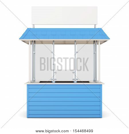 Blue Kiosk Isolated On A White Background. 3D Rendering