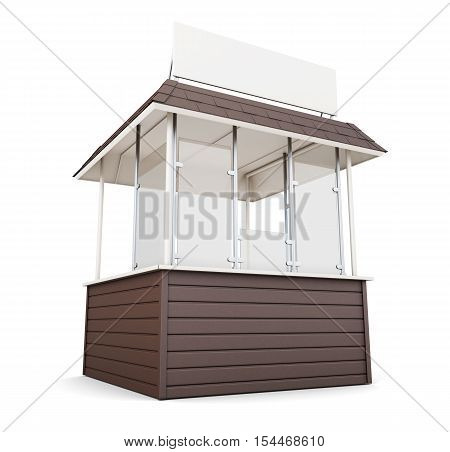 Brown Stall Isolated On White Background. 3D Rendering