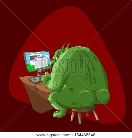 Colorful vector illustration of a fat internet troll sitting infront of a computer typing rude comments and fake propaganda articles on the social media