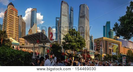 SHANGHAI CHINA - AUGUST 29 2016: An unidentified people look at Pudong district new area in Shanghai China on August 29 2016.