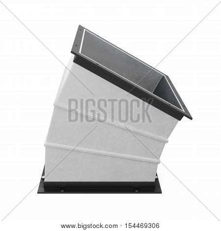 30 Degree Rectangular Bend Duct  Isolated. 3D Rendering