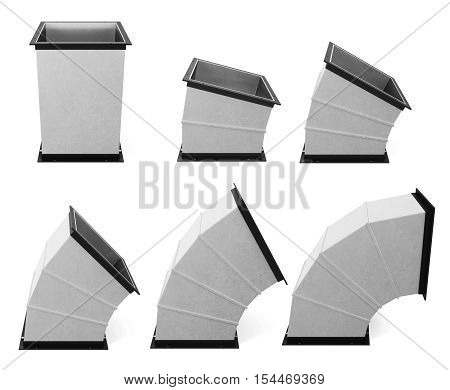Set Of Rectangular Components Of Air Duct Is Isolated. 3D Rendering