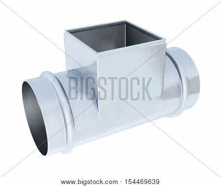 Tee Pipe Reducer Isolated On A White Background. 3D Rendering
