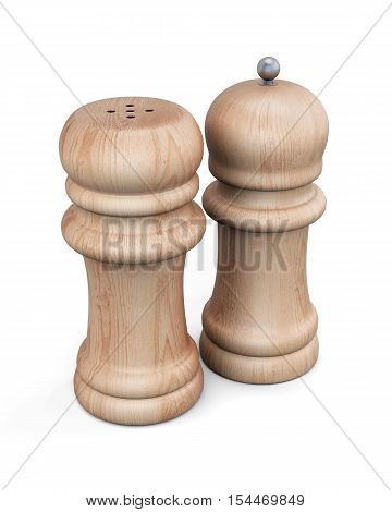 Set Of  Pepper Mill And Salt Shaker Isolated. 3D Rendering
