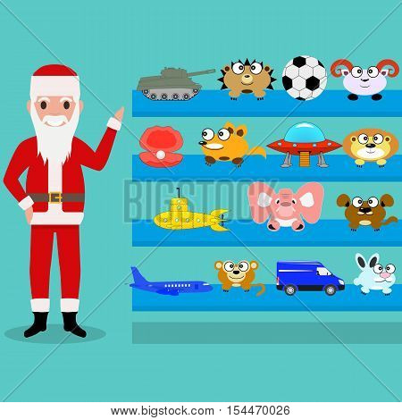 Vector illustration of cartoon Santa Claus shows the toys on the shelf. Toy gifts for children at Christmas and New Year. Flat style. Toy shop.