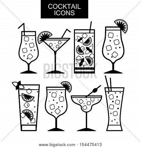 Cocktail icons. Cocktail menu. Different kinds of glasses