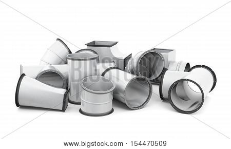 Pipe Fittings Isolated On A White Background. 3D Rendering