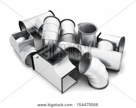 Steel Pipe Fittings Isolated On A White Background. 3D Rendering