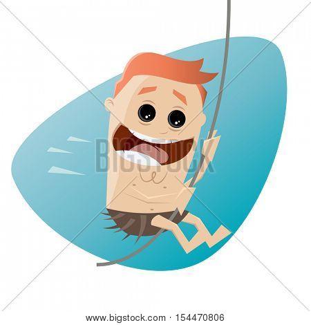 funny cartoon man swinging with a liana