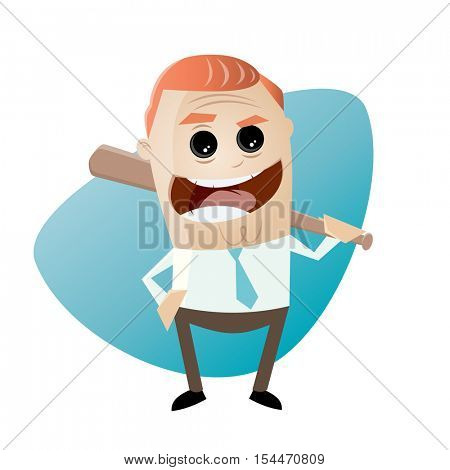 sinister businessman with baseball bat