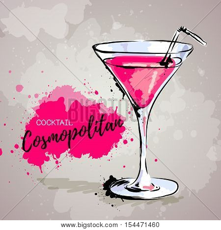 Vector Hand drawn illustration of cocktail cosmopolitan.