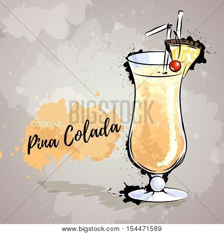 Hand drawn illustration of cocktail pina colada.