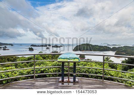 famous kujuku Islands overlook in Sasebo Kyushu