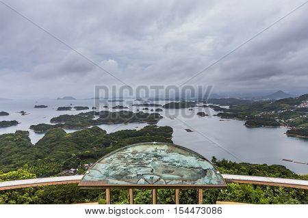 Kujuku Islands overlook in cloudy day in Sasebo Kyushu..