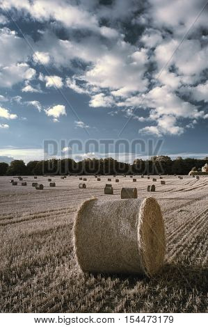 Beautiful Countryside Landscape  Infrared Image Of Hay Bales In Summer Field During Colorful Sunset