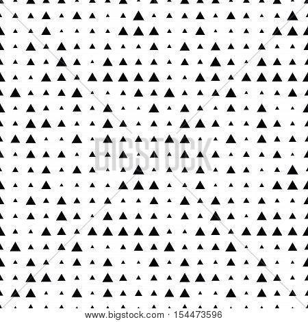 Seamless halftone pattern with triangles. Seamless background texture. Geometric geo pattern. Black and white fabric print.