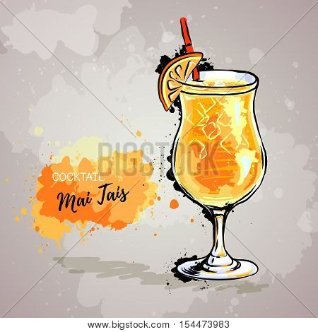 Hand drawn illustration of cocktail mai tais
