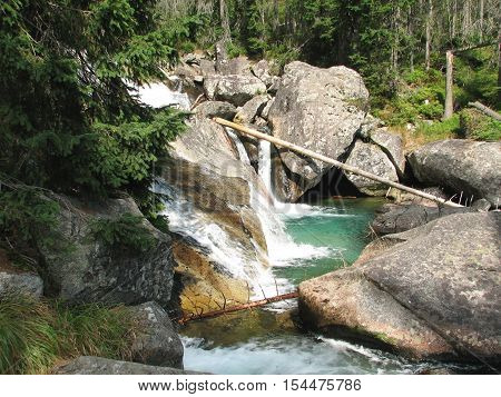 Waterfalls Cold Valley in the High Tatras in Slovakia