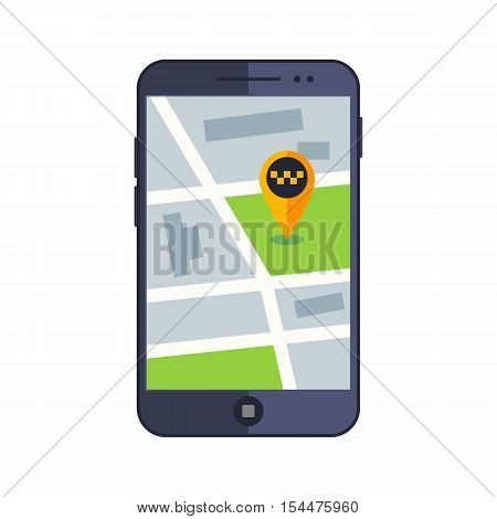 Taxi service. Flat yellow taxi with a driver. The car with the door open. car front view. Flat mobile phone with a label on the map. Application for taxi online.