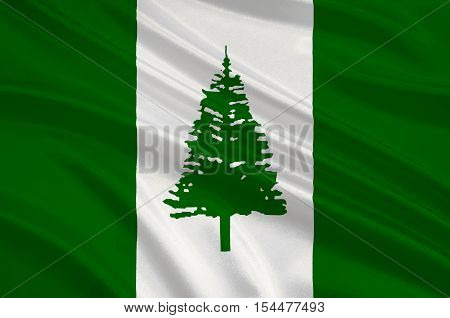 Flag of Norfolk Island (Australia) - Kingston. 3d illustration