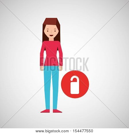 girl cartoon traveler and do not disturb room design, vector illustration  graphic