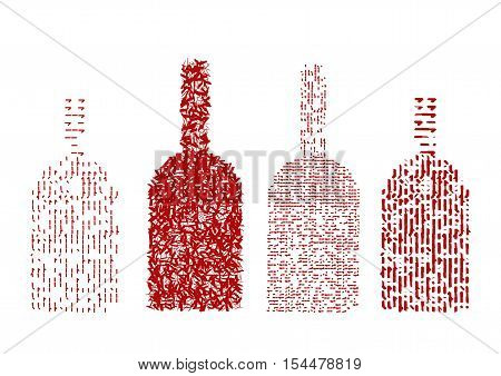 Four red wine bottles. Vector on a white background.