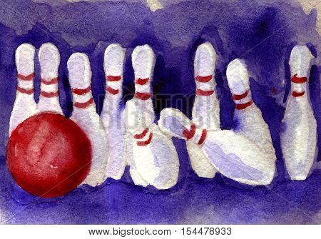 watercolor sketch of bowling pin and ball on white background