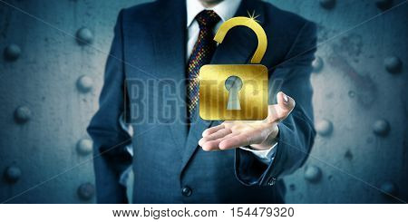 Business manager is offering a golden open padlock in the palm of his outstretched left hand. Business concept for access security secrecy accessibility protection privacy success and wealth.