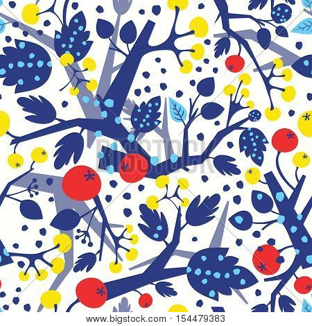 Colorful seamless pattern with tree branches and berries in Christmas colors. Can be used as wrapping paper textile or wallpaper design