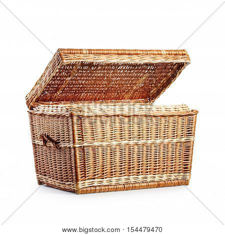 Open wicker box. Treasure chest. Empty laundry basket. Object isolated on white background with clipping path