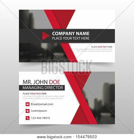 Red black corporate business card name card template horizontal simple clean layout design template Business banner card for website