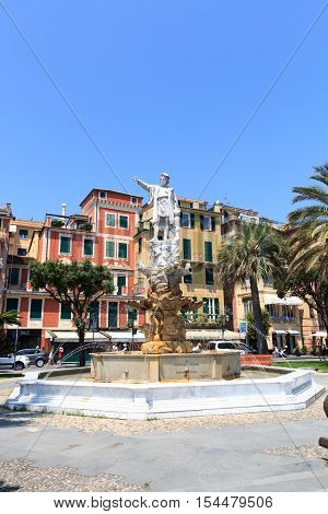 Santa Margherita Ligure, Italy - June 28, 2016: Statue of Christopher Columbus in the Piazza della Liberta. Christopher Columbus was an Italian explorer, navigator and colonizer. He completed four voyages across the Atlantic Ocean.