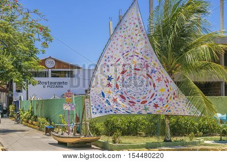 PORTO GALINHAS, BRAZIL, JANUARY - 2016 - Urban scene at sunny day in Porto Galinhas a watering place located in Pernambuco Brazil