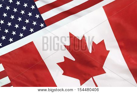 Usa And Canada Flag Merged