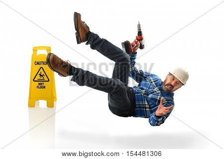 Senior Hispanic worker falling on wet floor isolated over white background