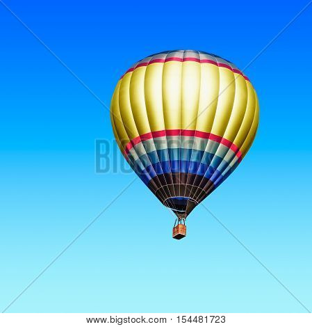 Air hot ballon on blue sky background. Single object with clipping path