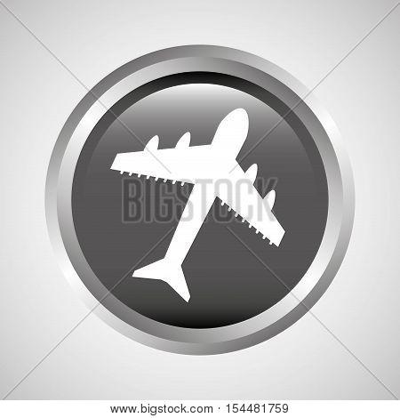 travel concept transport airport plane button design, vector illustration  graphic