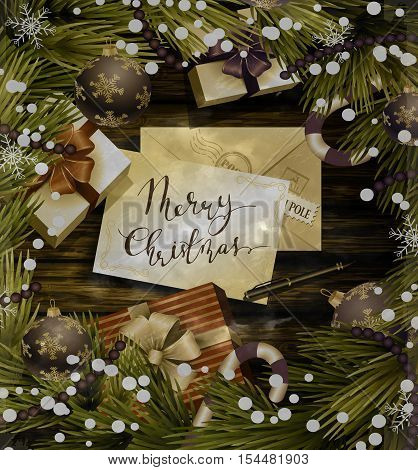 Christmas New Year design wooden background with christmas decorations candy canes snow and balls arranged in a frame with gift boxes and envelope for santa pen and handwritten Merry Christmas in old grange photo style.