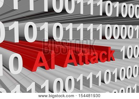 the threat of attacks of artificial intelligence is presented in the form of binary code 3d illustration