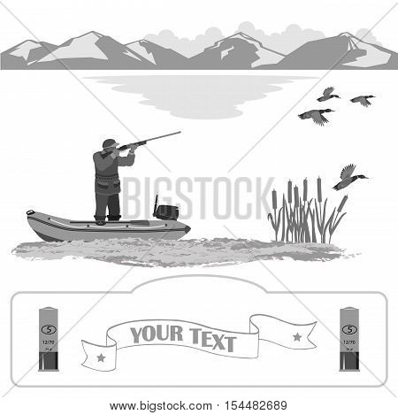 A man stands in a rubber boat and shoot a rifle. Ducks are flying. on the far background of mountains and clouds. Isolate on white background.