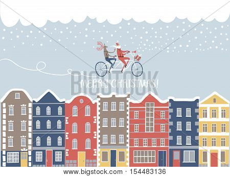 Christmas illustration with Santa and Deer on bicycle above European style colorful cartoon buildings in winter. Cute christmas postcard for your design.