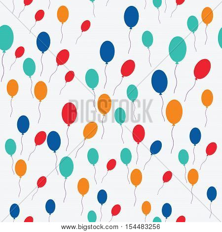 Colorful balloons in flight. Seamless pattern with colored balloons. Flat style. Chaotic spotted print on whaite. Great for fabric wrapping paper wallpaper web pages cover design clothes
