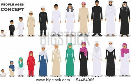All age group of arab man family. Generations man. Stages of development people - infancy childhood youth maturity old age. Arab people father mother son daughter grandmother and grandfather standing together in traditional islamic clothes. Social concept