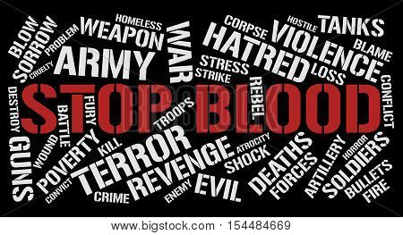 Stop blood word cloud concept. Black background.