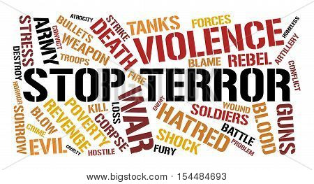 Stop terror word cloud concept. White background.
